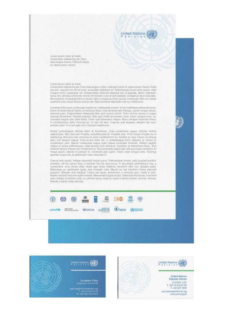 Visual identity per Nazioni Unite Pakistan – intestati