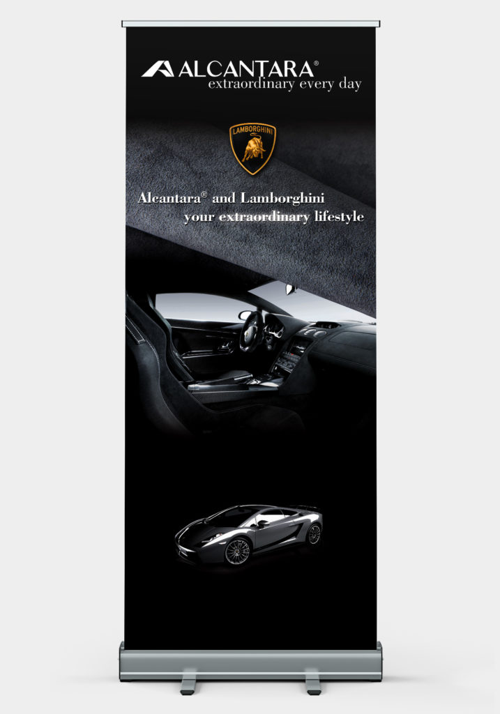 Advertisment for the launch of Alcantara in Shanghai feauring Lamborghini