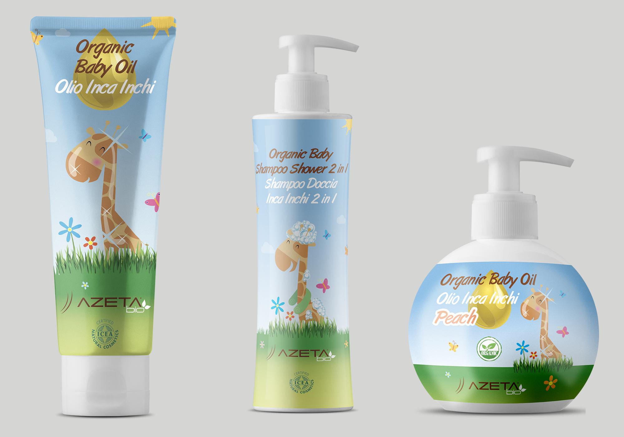 Visual identity, labelling e packaging per linea prodotti per l'igiene del bambino Azeta Bio