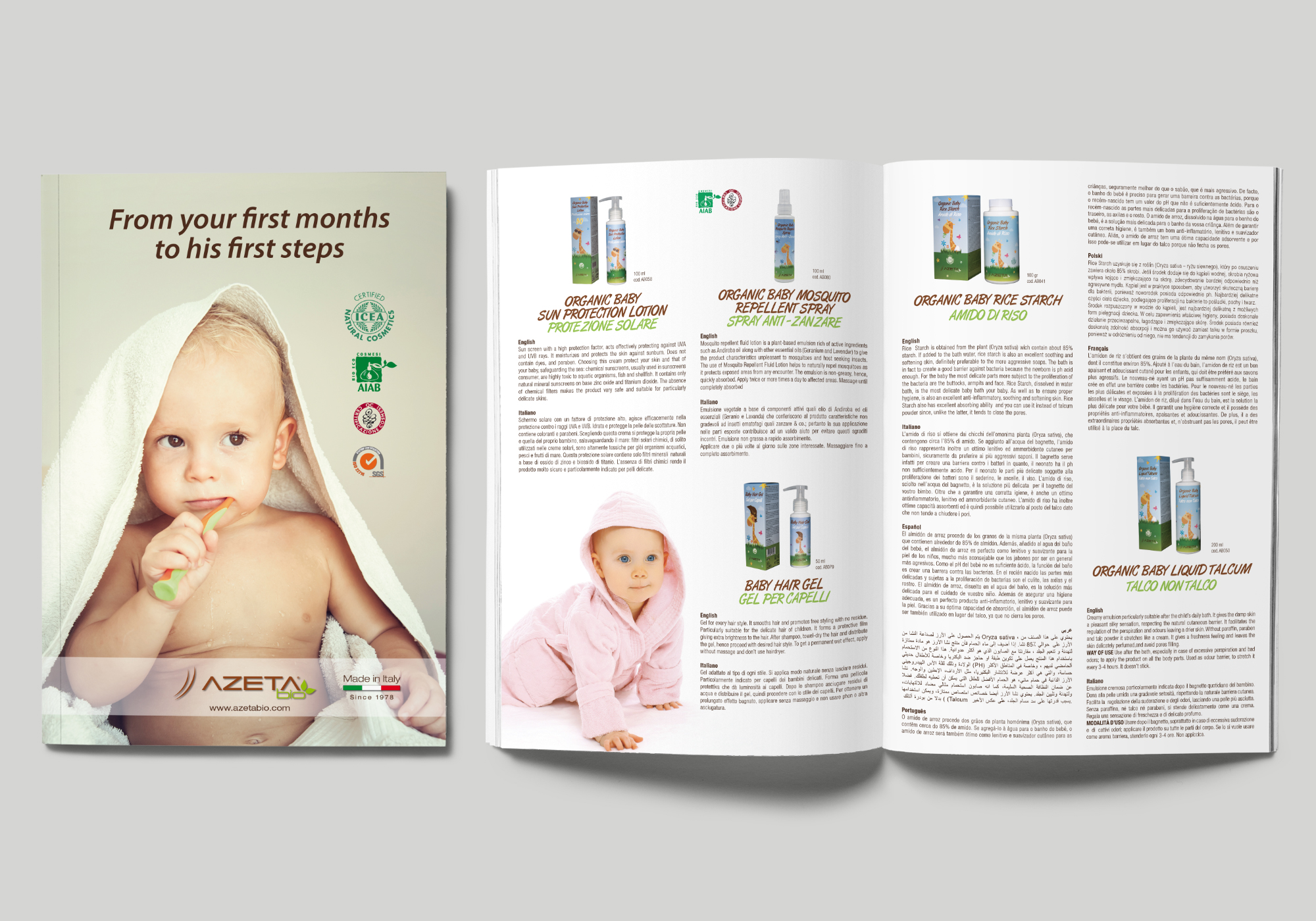 Brochure per linea prodotti per l'igiene del bambino Azeta Bio