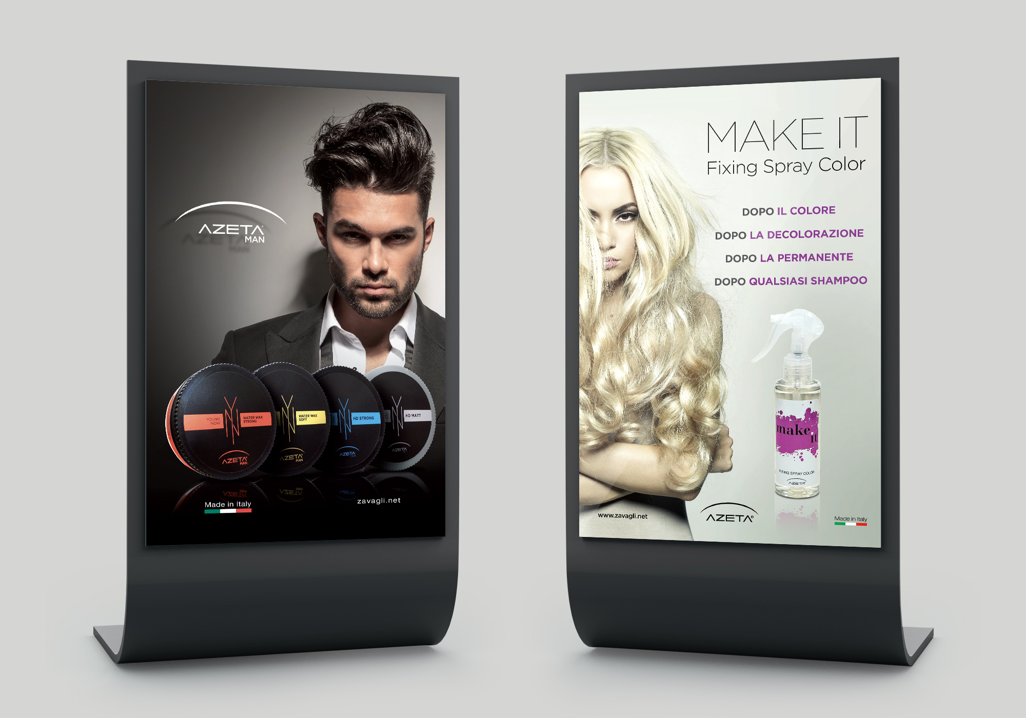 Visual identity, labelling e packaging per linea prodotti professionali Azeta Capelli