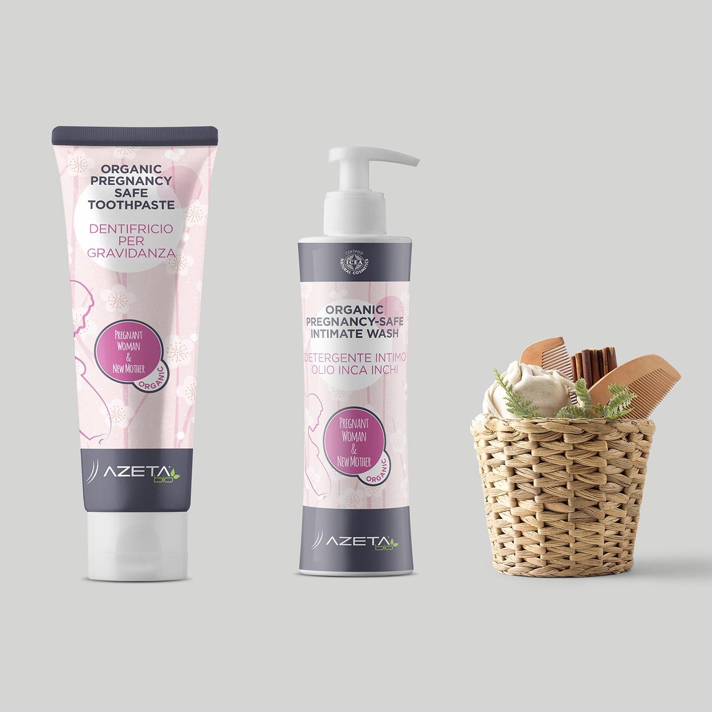 Visual identity, labelling e packaging per linea prodotti per l'igiene delle neo mamme Azeta Bio - Graphic Design Mirko Neri